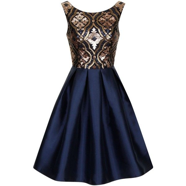 Chi Chi London Regal sequin skater dress found on Polyvore featuring dresses, navy, women, knee length cocktail dresses, navy cocktail dress, sequin cocktail dresses, blue sequin dress and knee-length dresses