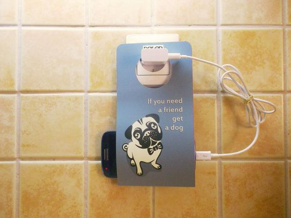 Cell Phone Holder Wall Socket NOTON DOG BLUE by econdesign on Etsy