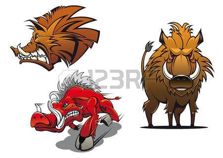 wild for: Лесные дикие кабаны мультфильм талисманы, показывающие красные и коричневые сердиться свиней с взъерошенными меха и агрессивной усмешке для татуировки или спорт символа команда дизайна