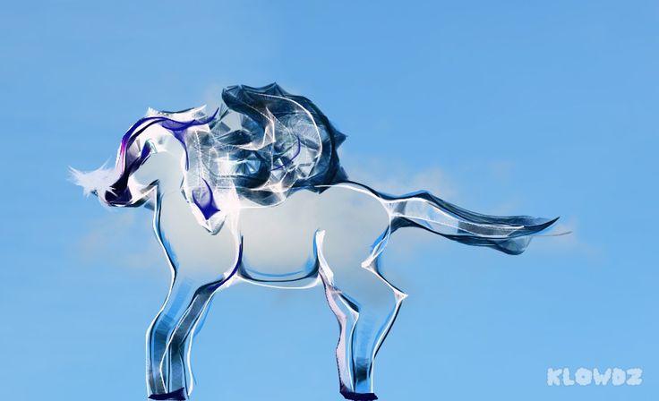 Imagen realizada con Klowdz. Esta imagen quería representar a un caballo alado.