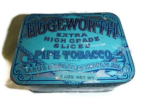 Vintage Blue EDGEWORTH Tobacco Tin Box 20s Art Deco Pipe