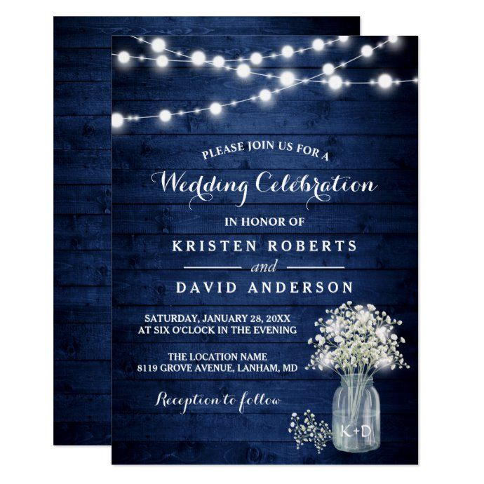 Rustic Baby S Breath Lights Navy Blue Wedding Invitation Zazzle Com Blue Wedding Invitations Navy Blue Wedding Invitations Navy Blue Wedding