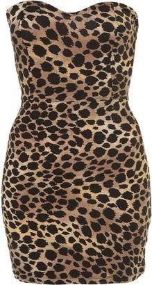 ShopStyle: Petite Animal Print Bandeau Dress