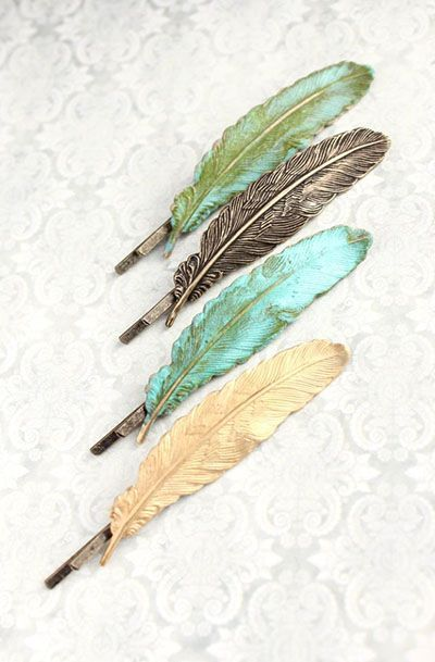 Feather Bobby Pin Gold Brass Feather