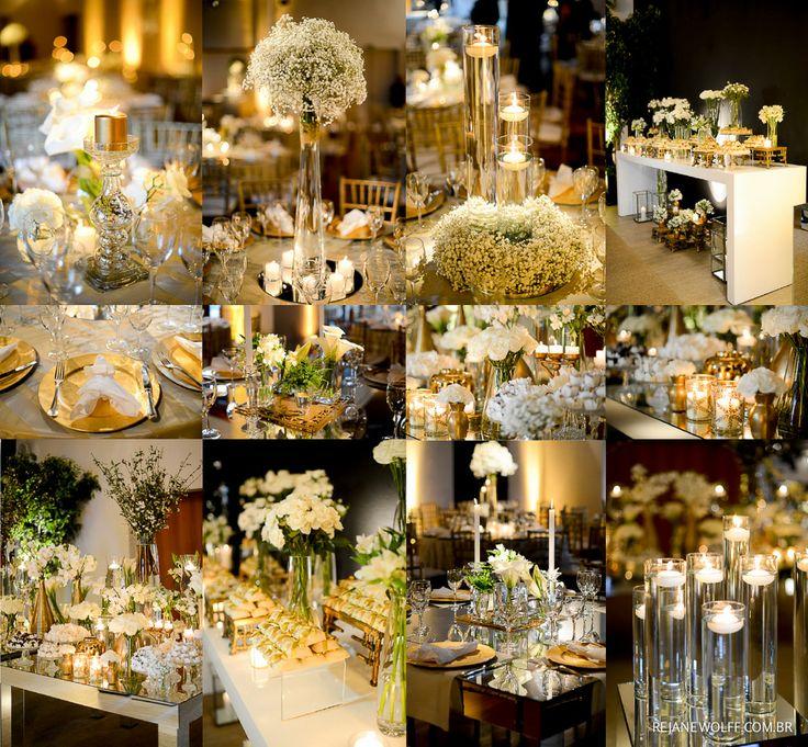 Inspiração de decoração de casamento em branco e dourado. Decor: Renata Salvadego | Foto: Rejane Wolff