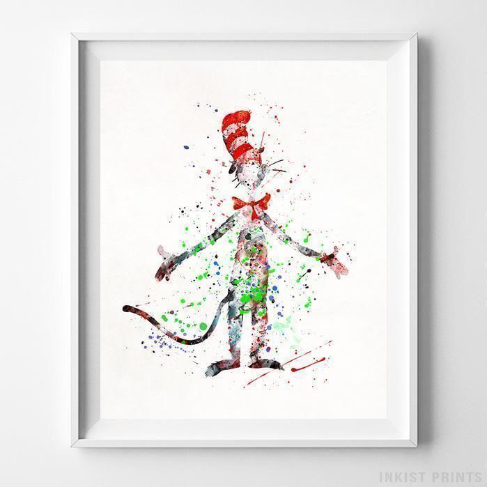 The Cat In The Hat Dr Seuss Print Watercolor Art Prints Prints Wall Art Prints