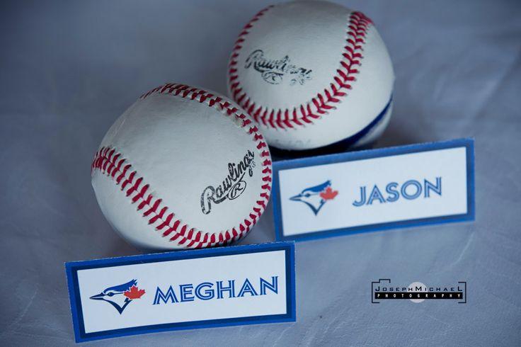 Baseball Themed Wedding Blue Jays, baseball, rings, names, baseball theme