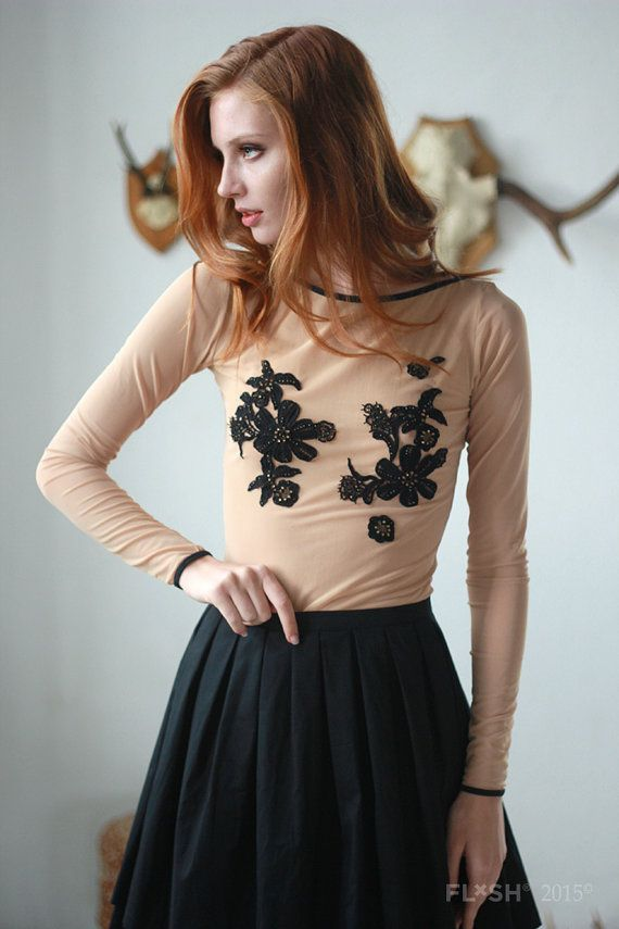 Nude Tulle Boat Neck Top with Black Elastics and Lace Applique - Sheer See Through Mesh Tops for Women
