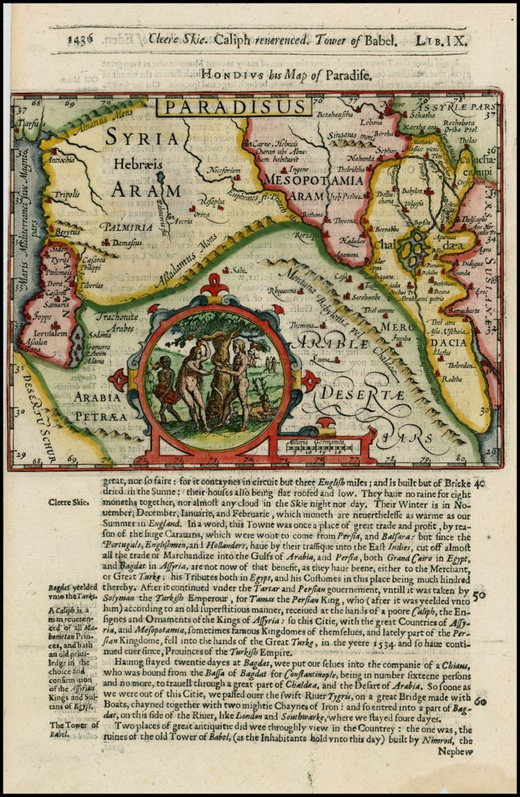 Paradisus Garden Of Eden Vignette Barry Lawrence Ruderman Antique Maps Inc Africa