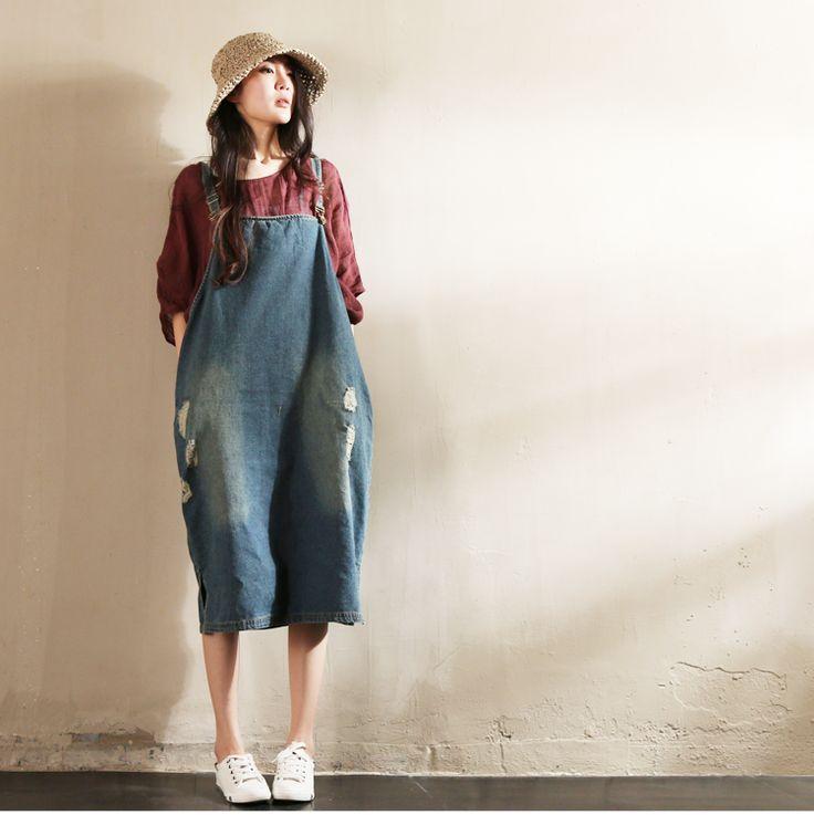 Blue Hole Hole Painter Cowboy Suspender Dress Oversize Causel Women Clothes