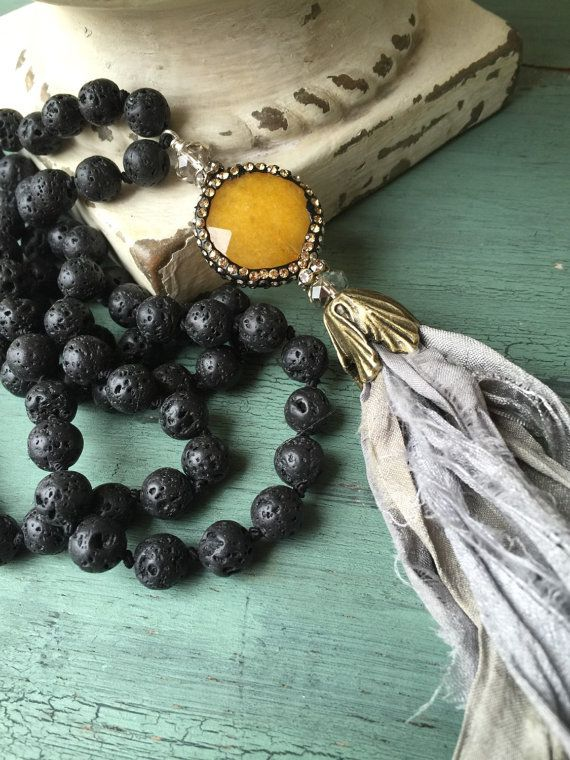 Unique sari silk gemstone tassel jewelry grey black lava hand knot versatile BoHo accessory gift ling necklace by MarleeLovesRoxy