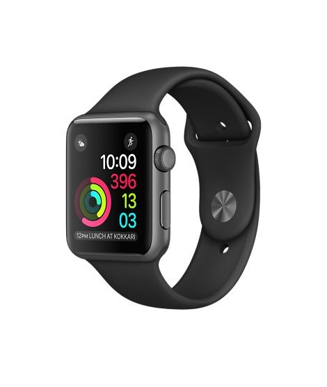 Apple Watch (Series 1 & Series 2) - Space Gray Aluminum Case with Black Sport Band (38mm & 42mm)