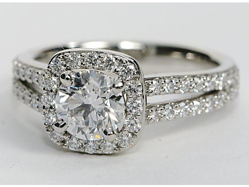 For lovers of #platinum: Split Shank Cushion Halo Engagement Ring from @Blue Nile