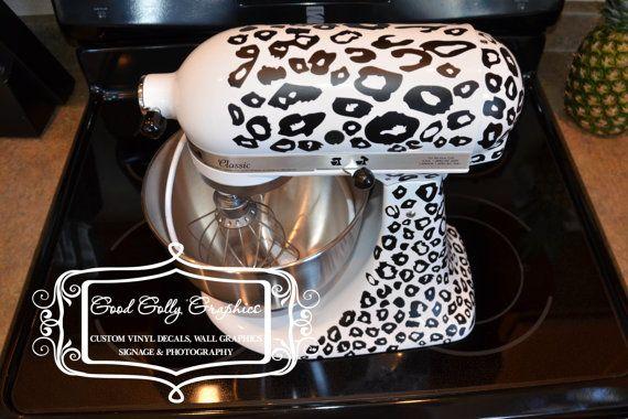 Kitchen mixer vinyl decal LEOPARD PRINT decal by GoodGollyGraphics, $25.00- I WA