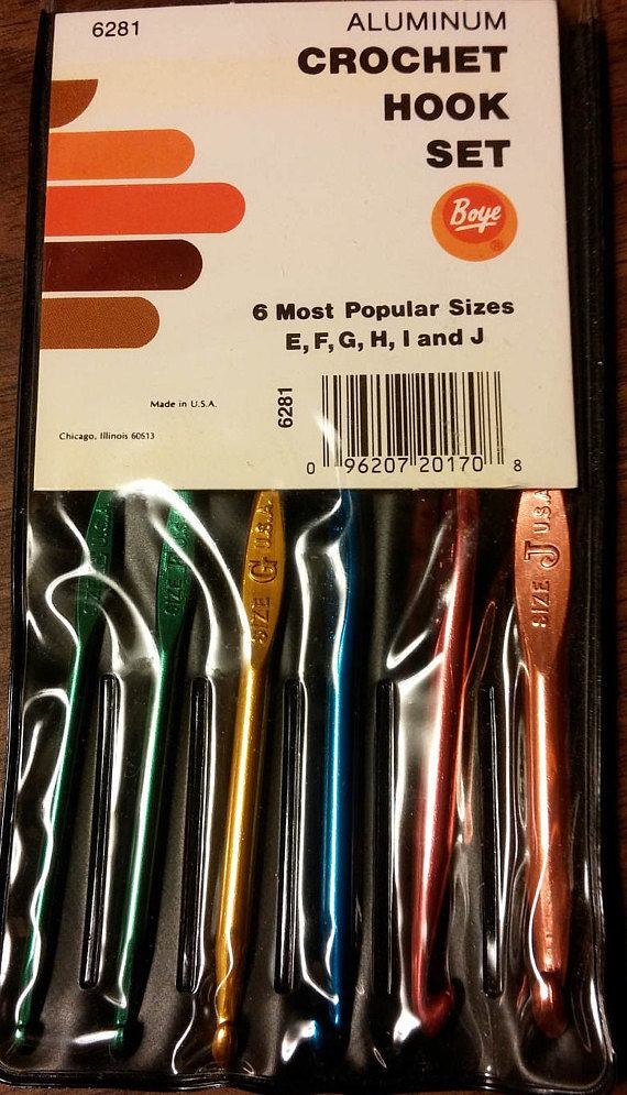 6 Boye Aluminum crochet hook set: sizes E, F, G, H, I, and J  Each crochet hook 6-inch in length  Boye crochet hooks feature optimally smooth throats and rounded heads for most precise, professional-looking work. Precision-crafted quality assures a fine finish and accuracy of gauge. Founded in 1906, Boye Needle Company was the first American manufacturer of crochet hooks and knitting needles.  New, unused in original package.