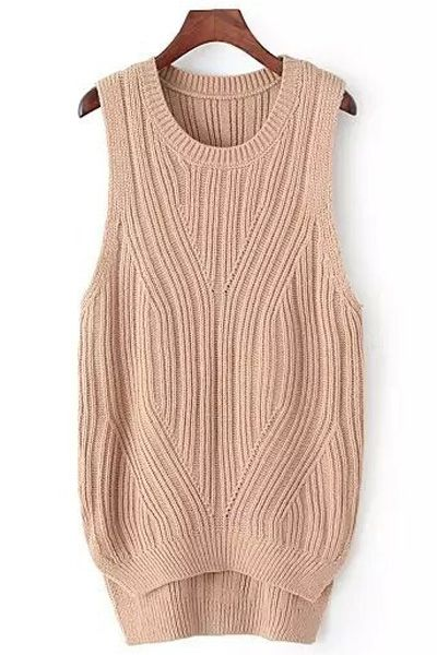 High Low Solid Color Sleeveless Sweater