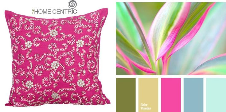 Blue, bright pink and green color palette - house color scheme.