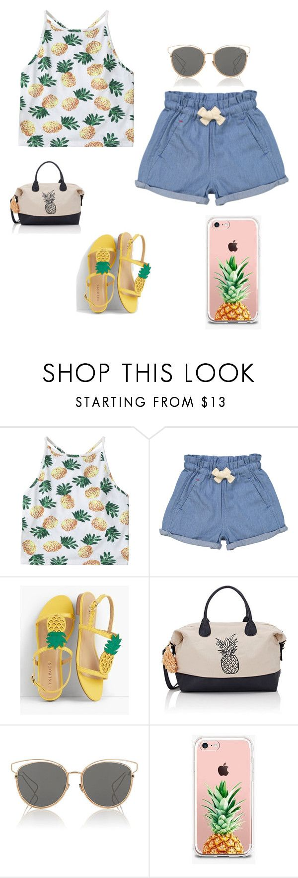 """Pineapple"" by daniuskaloreto on Polyvore featuring moda, Tootsa MacGinty, Talbots, Deux Lux, Christian Dior y The Casery"