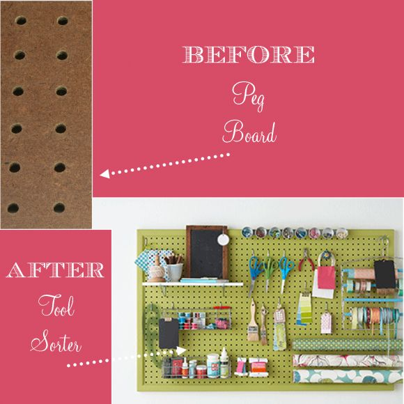 I love this idea!  Peg board turned into an organizer for art/craft supplies.  I am constantly knocking things over on my art table.  This is a perfect way to give more table space.