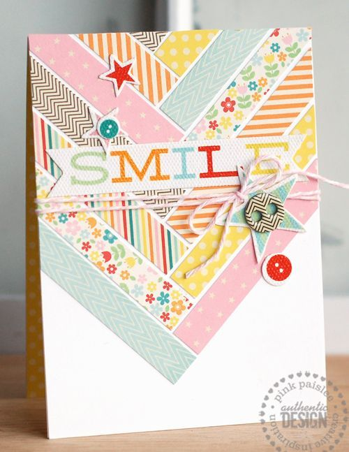 "Colorful ""Smile"" Card...using leftover paper scraps in a fun chevron piecing design.  Betsy Veldman:  Pink Paislee. This would also work well with washi tape."
