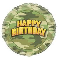 Helium Filled Camo Happy Birthday Foil Balloon