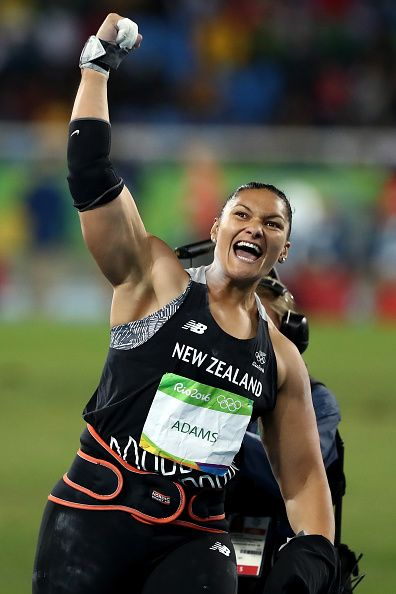 #RIO2016 Valerie Adams of New Zealand celebrates during the Women's Shot Put Final on Day 7 of the Rio 2016 Olympic Games at the Olympic Stadium on August 12...