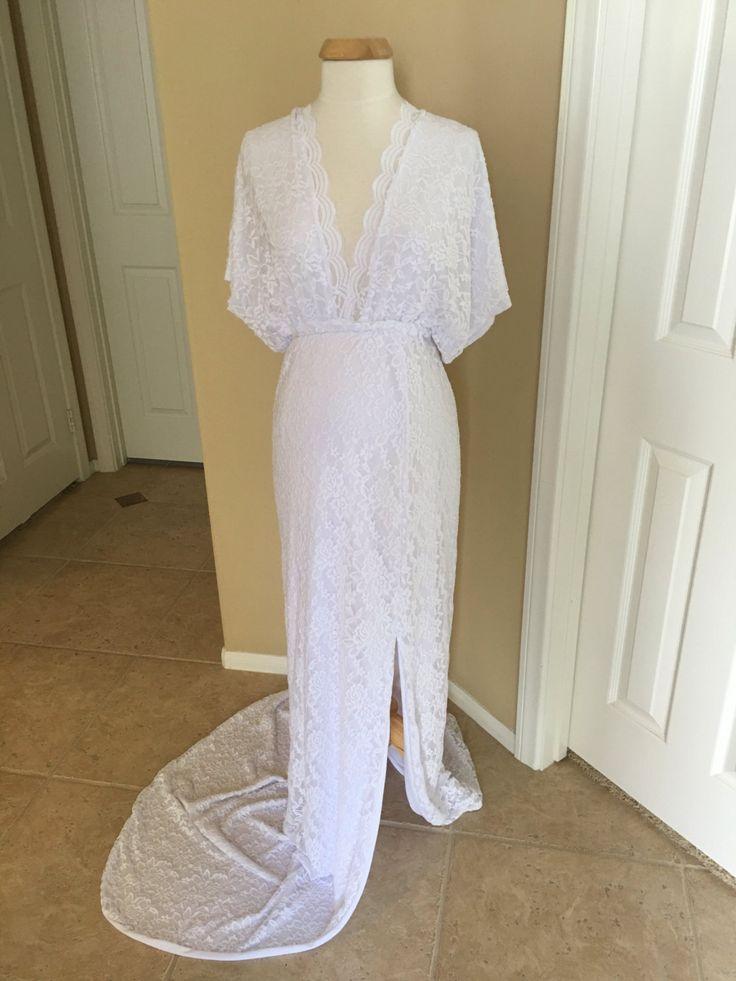 Blanco de la guarnición de encaje vestido de maternidad