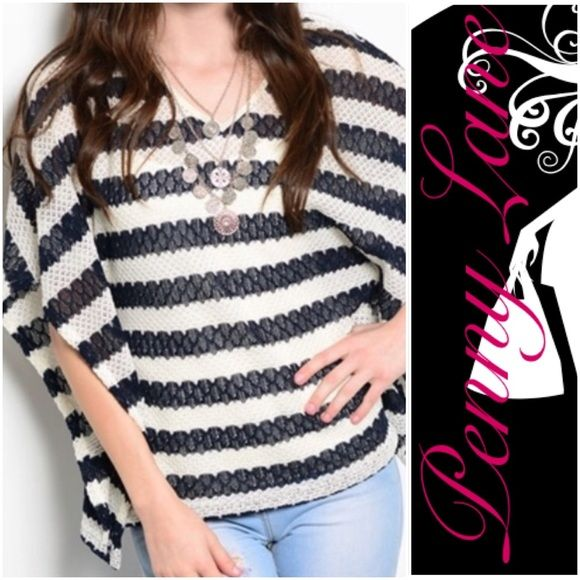 "Striped sweater batwing top in XL Gorgeous top. Flattering cut! Would look great with leggings or jeans! :) ❌PRICE IS FIRM ❌Shipped within the USA.     Description: L: 25"" B: 30"" W: 29"" Sweaters Shrugs & Ponchos"