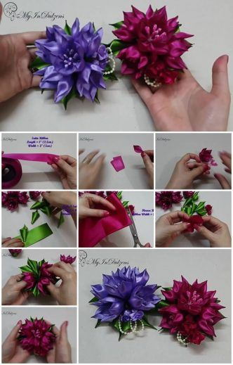 How to Make Ribbon Kanzashi Tulip Flower