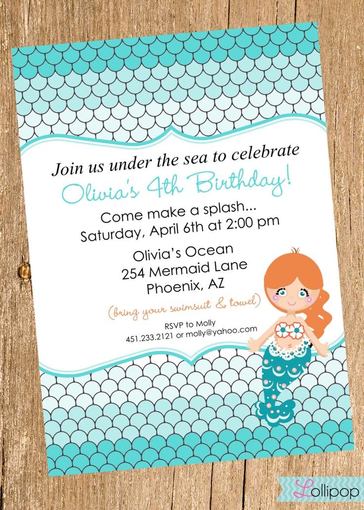 Mermaid Printable Birthday Invitation Mermaid Under The Sea