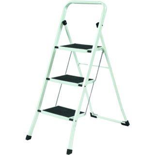 YBM Home Lightweight White Folding 3-Step Ladder
