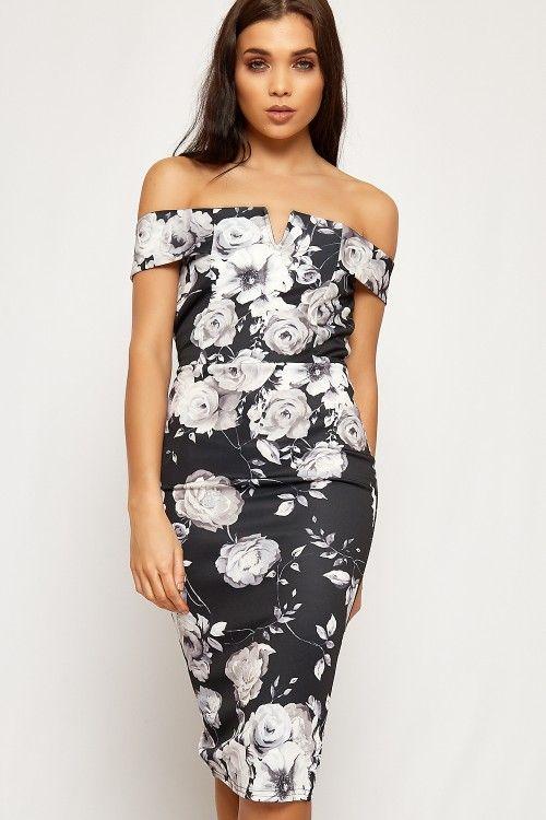 Natalie Floral Bardot Sweetheart Bodycon Dress #prom #summer #2017 #fashion