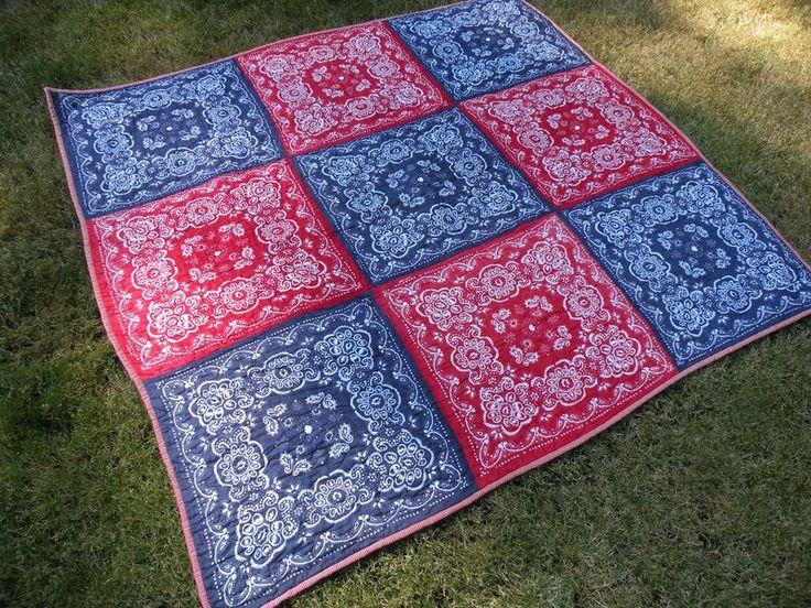 "Bandana quilt, 9 bandanas makes a 54x54"" quilt."