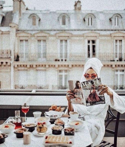 Profil Lebensstil, Frühstücksaufstrich, Paris, Frankreich, Parisienne, Balkon, Re