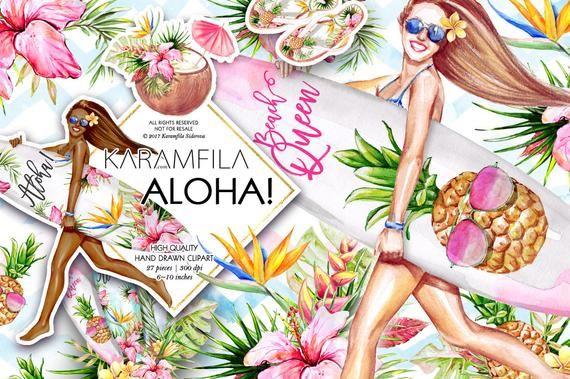 Aloha Bretter Clipart Sommer Clip Art tropische Früchte Clipart Strand Clipart Aquarell Mode Clipart Surf Ananas Sticker DIY