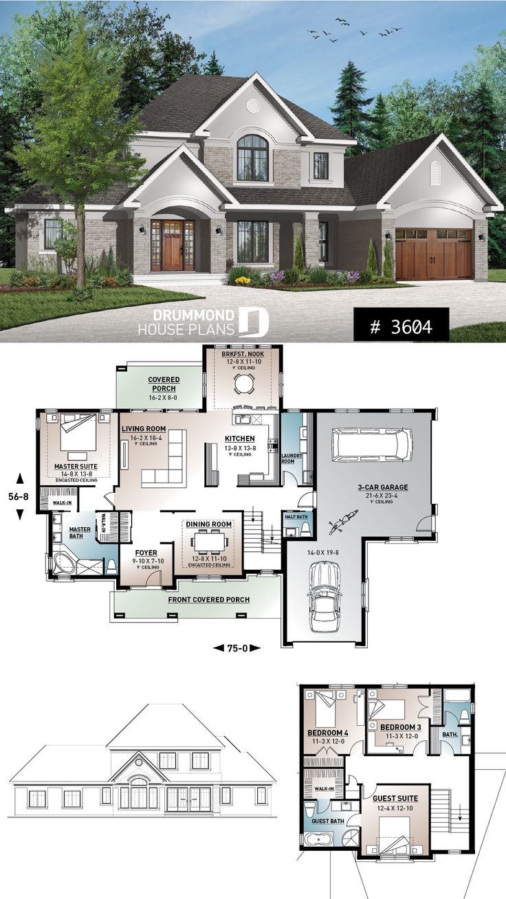 house plan with 2 master suites, 3-car garage, for…