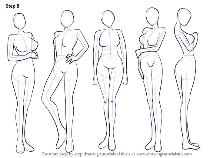 Learn How to Draw Anime Body - Female (Body) Step by Step : Drawing Tutorials