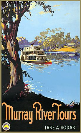 Murray River Tours, Australia by James Northfield c.1930s http://www.vintagevenus.com.au/products/vintage_poster_print-tv600
