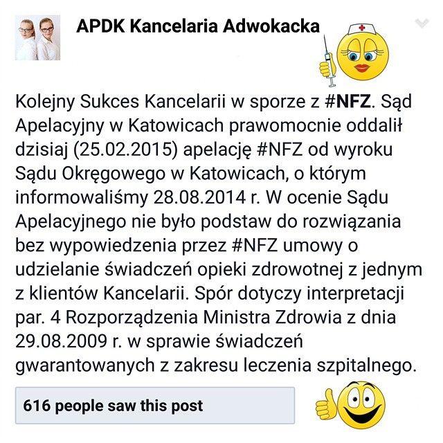 Jeden z sukcesów ADPK Adwokaci w sporze z #NFZ