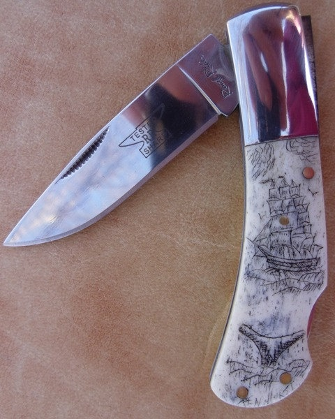 Scrimshaw of Whaling Ship at Work Knife by silverdesignsbyken.
