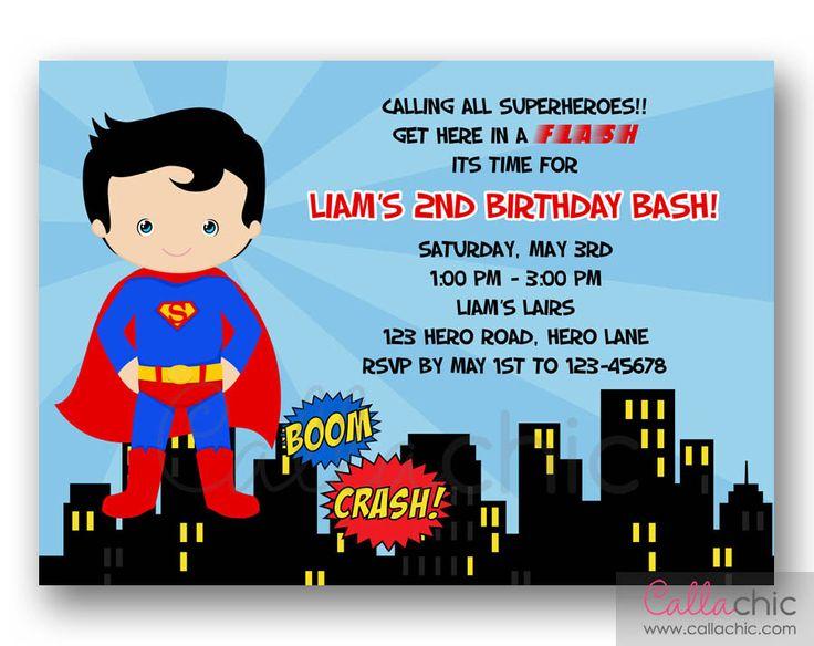 Invitation Card For 1St Birthday Boy Superman purplemoonco
