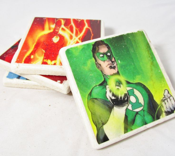 Justice League Superman, Wonder Woman, Green Lantern and the Flash Comic Book Coaster Set of Four by SouthernCultureGifts on Etsy https://www.etsy.com/listing/128146931/justice-league-superman-wonder-woman