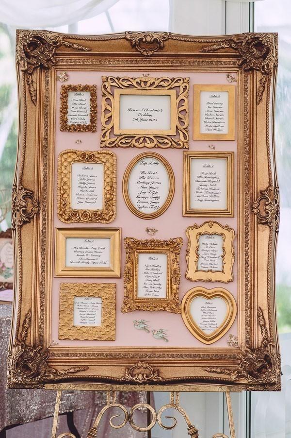 Gold framed seating chart for vintage style wedding /myweddingdotcom/