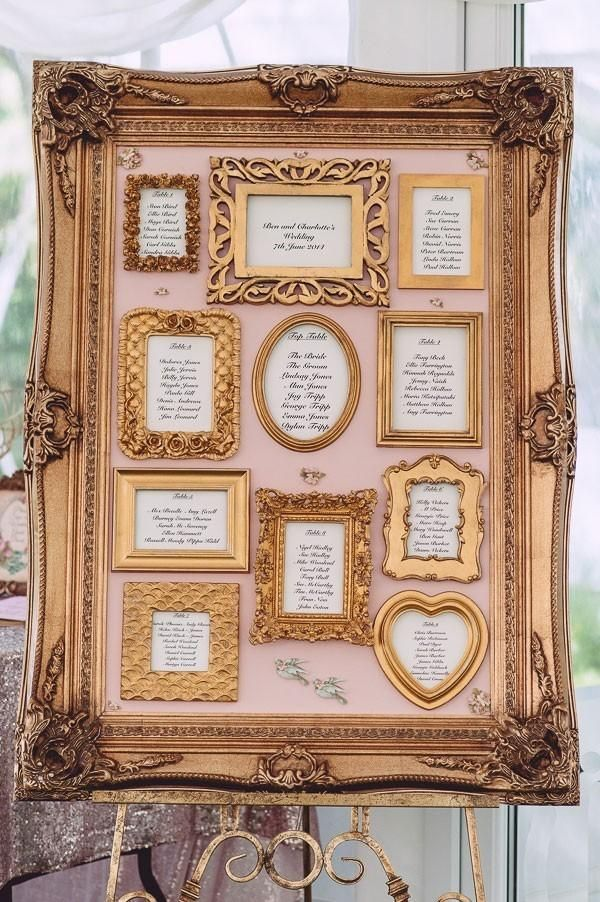 Gold framed seating chart for vintage style wedding /myweddingdotcom/