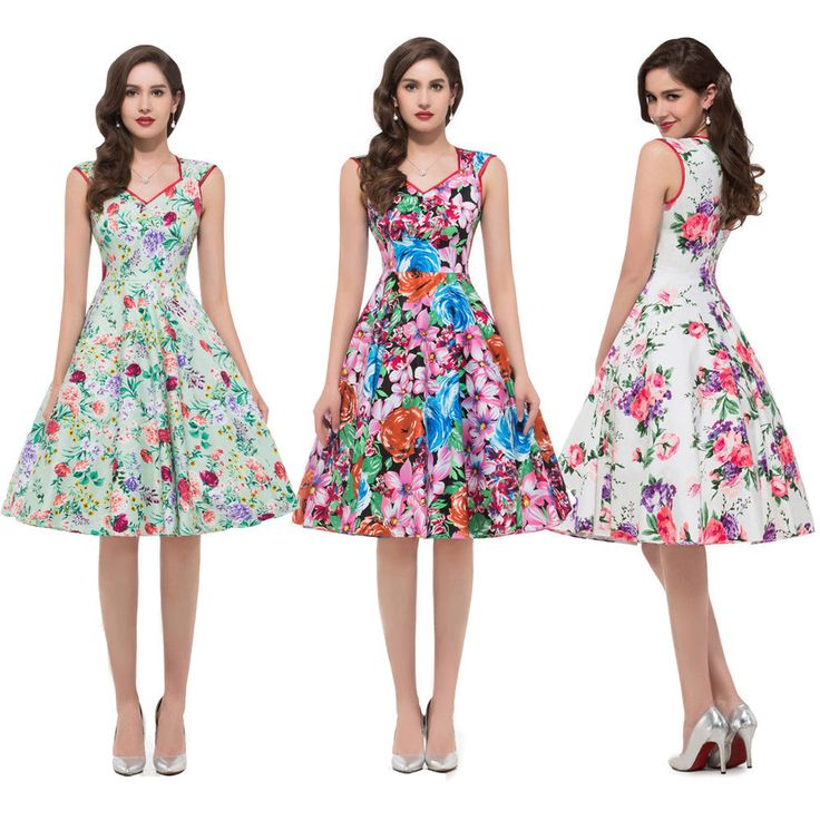 Lady Floral Retro Swing 50s 60s Housewife Pinup Cocktail Formal Party Dress 6-16 #Unbranded #TeaDress #Cocktail
