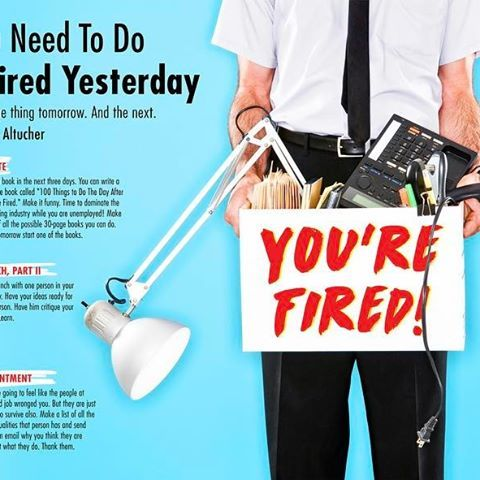 """NEW! 💥 """"10 Things You Need To Do If You Were Fired Yesterday"""" by @altucher, design @pamela.sisson #design #fired #infographic #advice #work #career #finance #money #friends #connect #socialmedia #ideas #art #reinventyourself #nyc #editorial #creative #poster #network #typography #lunch"""