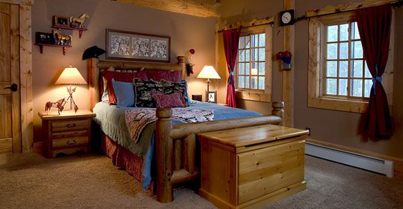 Log Home Western Bedroom, A Western Themed Little Girls Room In A Log Home In Colorado, Bedrooms