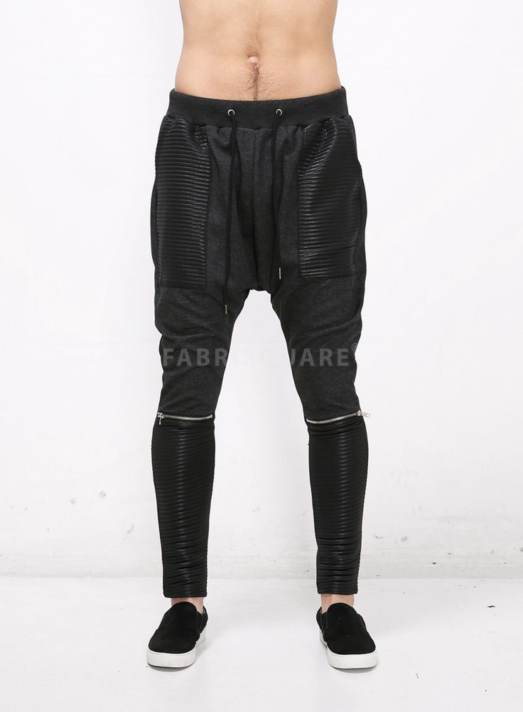XQUARE Drop Crotch Pintuck Panel Zipped Jersey Pants $45.00
