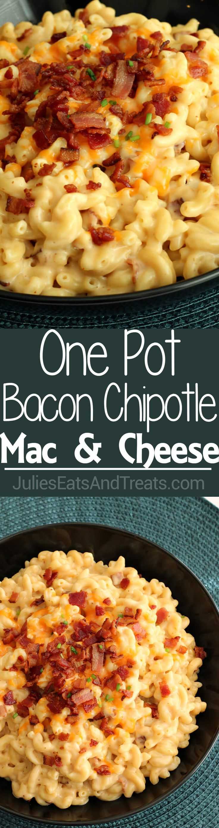 Bacon Chipotle Mac & Cheese ~ Only One Pot, 6 Ingredients and Ready in 25 Minutes!! ~ http://www.julieseatsandtreats.com