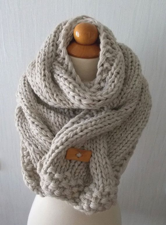 Chunky Scarf Handknit Big Super Chunky Cowl Extra Thick Cabled